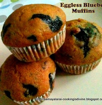 Eggless Blue Berry Muffins