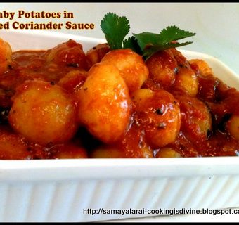 Baby Potatoes in Red Coriander Sauce
