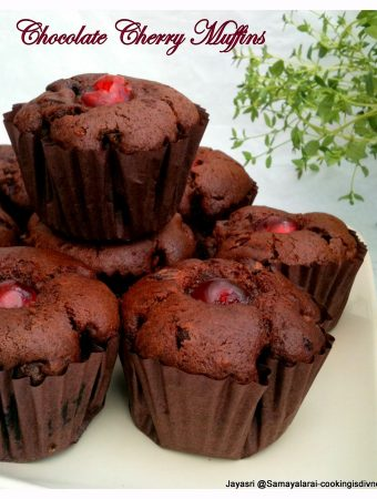 Fresh Cherries and Chocolate Muffins – Eggless and healthy