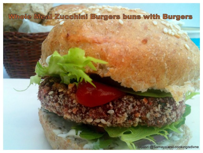 zucchin/courgetter whole wheat burger buns