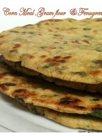 Jowar, Corn Meal, Gram flour & Fenugreek (Methi) Thepla