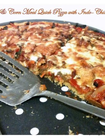 Whole wheat & Corn meal Quick Pizza with Indo-Chinese fusion melody