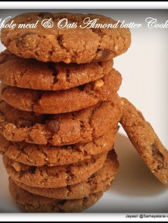 Whole wheat & Oats Almond butter cookies – Eggless