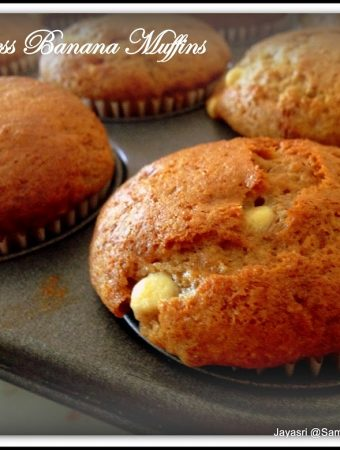Eggless Banana Muffins with dates