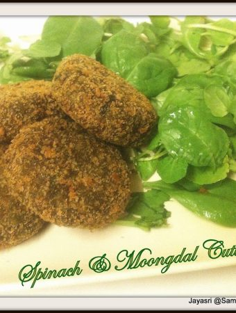 Moong Dal and Spinach Burgers/ Cutlets