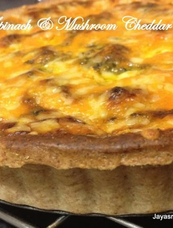 Eggless Whole meal Spinach & Mushroom Cheddar Quiche