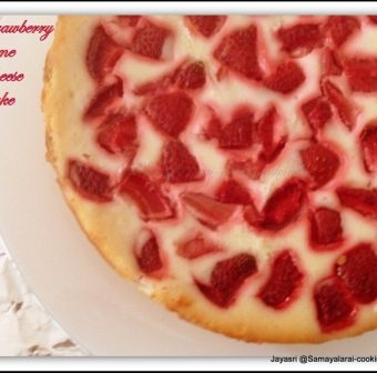 Eggless strawberry Lime Cheese Cake