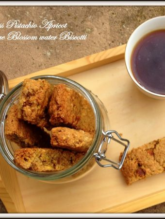 Eggless Pistachio Apricot Orange Blossom water Biscotti or Biscuit !? with Whole wheat and Oats