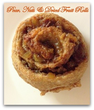 Pear, Nuts and dried Fruits in swirl rolls