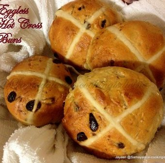 Eggless Hot Cross Buns for Easter ( Tangzhong Method )