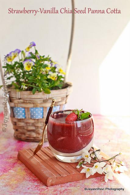 strawberry-vanilla chia seed panna cotta