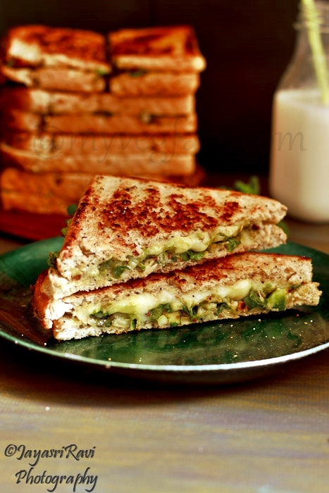 Avocado spring onion grilled sandwich