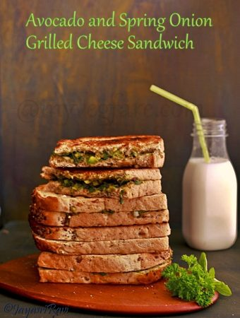 Avocado and Spring Onion Grilled Cheese Sandwich
